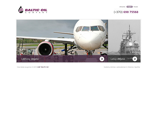 Baltic Oil Company interneto svetainės kūrimas