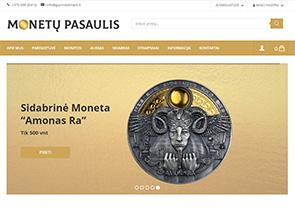 Monetų pasaulis interneto svetainės kūrimas