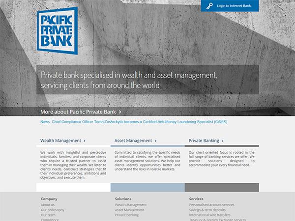 Private Pacifik Bank interneto svetainės kūrimas