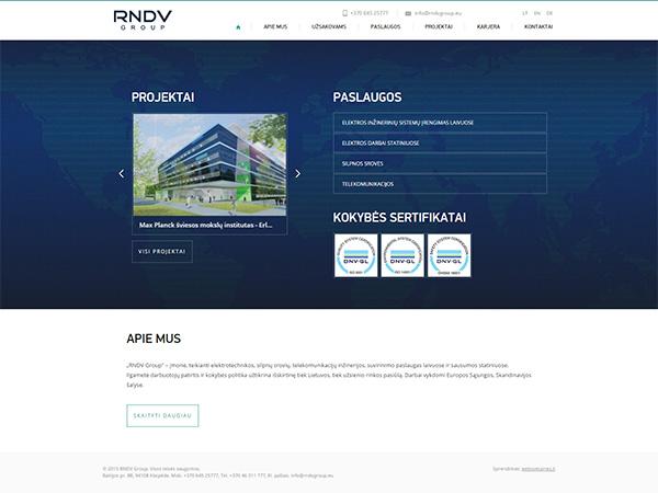 Rndv group interneto svetainės kūrimas